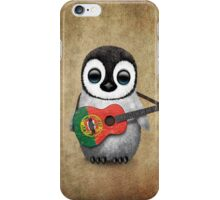 Baby Penguin Playing Portuguese Flag Guitar iPhone Case/Skin