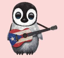 Baby Penguin Playing Puerto Rico Flag Guitar Kids Clothes