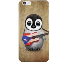 Baby Penguin Playing Puerto Rico Flag Guitar iPhone Case/Skin