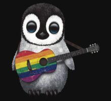 Baby Penguin Playing Gay Pride Rainbow Flag Guitar Kids Clothes