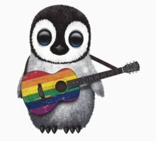 Baby Penguin Playing Gay Pride Rainbow Flag Guitar Kids Tee