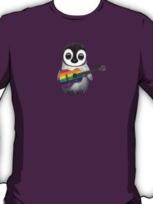 Baby Penguin Playing Gay Pride Rainbow Flag Guitar T-Shirt