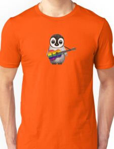 Baby Penguin Playing Gay Pride Rainbow Flag Guitar Unisex T-Shirt