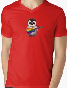 Baby Penguin Playing Gay Pride Rainbow Flag Guitar Mens V-Neck T-Shirt