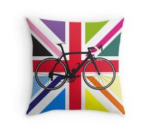 Bike Flag United Kingdom (Multi Coloured) (Big - Highlight) Throw Pillow