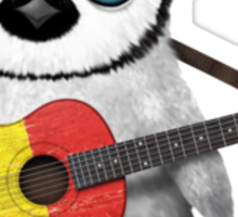 Baby Penguin Playing Romanian Flag Guitar Sticker