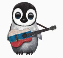Baby Penguin Playing Russian Flag Guitar Baby Tee