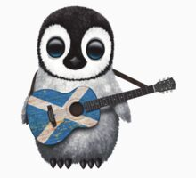 Baby Penguin Playing Scottish Flag Guitar Kids Tee