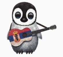 Baby Penguin Playing Serbian Flag Guitar One Piece - Short Sleeve
