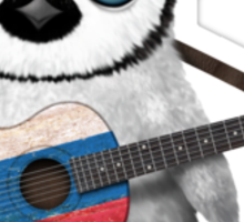 Baby Penguin Playing Slovakian Flag Guitar Sticker