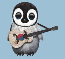 Baby Penguin Playing South Korean Flag Guitar Kids Clothes