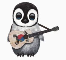 Baby Penguin Playing South Korean Flag Guitar T-Shirt