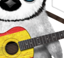 Baby Penguin Playing Spanish Flag Guitar Sticker