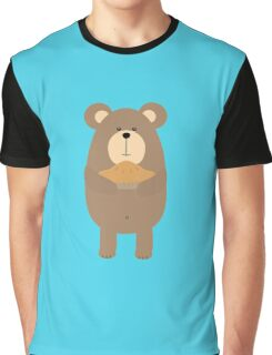 Brown Bear with pie Graphic T-Shirt