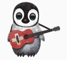 Baby Penguin Playing Swiss Flag Guitar Kids Tee