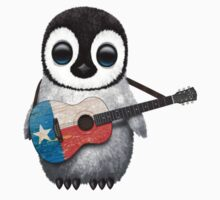 Baby Penguin Playing Texas Flag Guitar One Piece - Short Sleeve