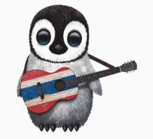 Baby Penguin Playing Thai Flag Guitar One Piece - Short Sleeve