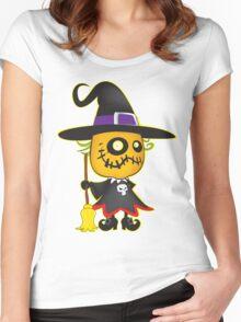 Halloween pumpkin witch Women's Fitted Scoop T-Shirt