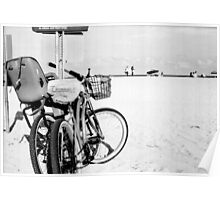 Bicycles at the Beach Poster