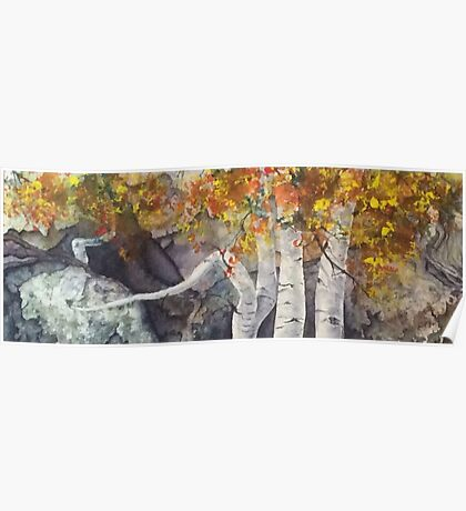 Watercolor Birch Trees Poster