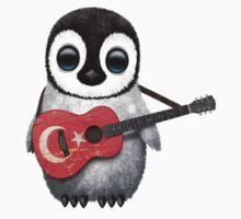 Baby Penguin Playing Turkish Flag Guitar Kids Tee