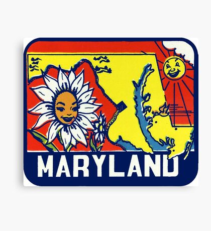 Maryland MD State Vintage Travel Decal Canvas Print