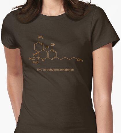 Marijuana THC Cannabis Molecule Womens Fitted T-Shirt