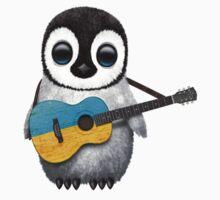 Baby Penguin Playing Ukrainian Flag Guitar Kids Tee