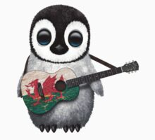 Baby Penguin Playing Welsh Flag Guitar Kids Tee