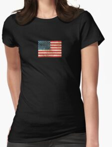 Vintage Aged and Scratched American Flag Womens Fitted T-Shirt