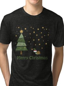 Snail Christmas Scene Tri-blend T-Shirt