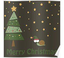 Snail Christmas Scene Poster