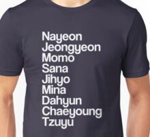 Twice, names, white Unisex T-Shirt