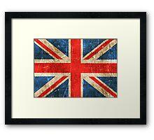 Vintage Aged and Scratched British Flag Framed Print