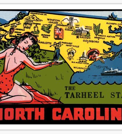 North Carolina NC State Map Vintage Travel Decal Sticker