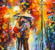 KISS UNDER THE RAIN - Leonid Afremov by Leonid Afremov
