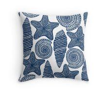 Graphic blue shells Throw Pillow