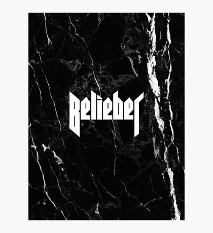 Belieber - Black & White Marble Photographic Print