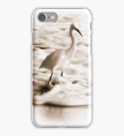 Snowy Egret in Sepia iPhone Case/Skin