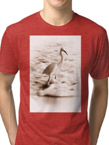 Snowy Egret in Sepia Tri-blend T-Shirt