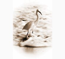 Snowy Egret in Sepia Unisex T-Shirt