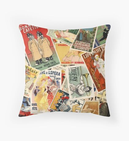 French Montage part deux Throw Pillow