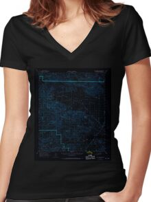USGS TOPO Map California CA Hexie Mountains 297710 1963 62500 geo Inverted Women's Fitted V-Neck T-Shirt