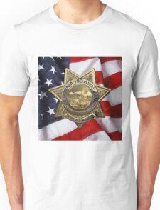 California Highway Patrol - CHP Police Officer Badge over American Flag Unisex T-Shirt