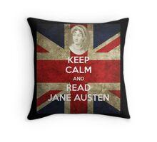 Keep Calm and Read Jane Austen Throw Pillow