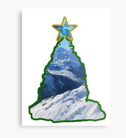 Christmas Tree Snow Scene Metal Print