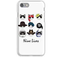 A Cat Living Nine Lives (w/ Text) iPhone Case/Skin