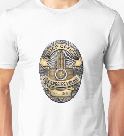 Los Angeles Police Department - LAPD Police Officer Badge over White Leather Unisex T-Shirt