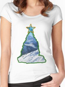 Christmas Tree Snow Scene Women's Fitted Scoop T-Shirt