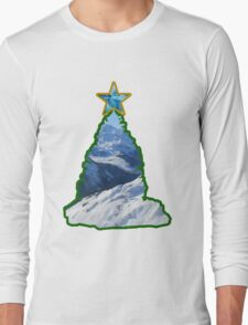 Christmas Tree Snow Scene Long Sleeve T-Shirt